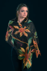"WEARABLE ART- ""Sunflowers"" shawl"