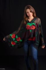 WEARABLE ART - Blue Roses Pullover