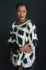 WEARABLE ART -   White Checkered Pullover