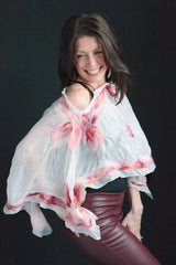 "Wearable art-"" White peach ""Tunic/shawl"
