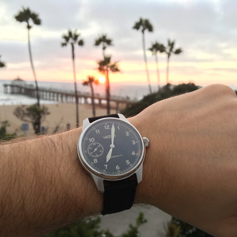 sunset with a Weiss watch