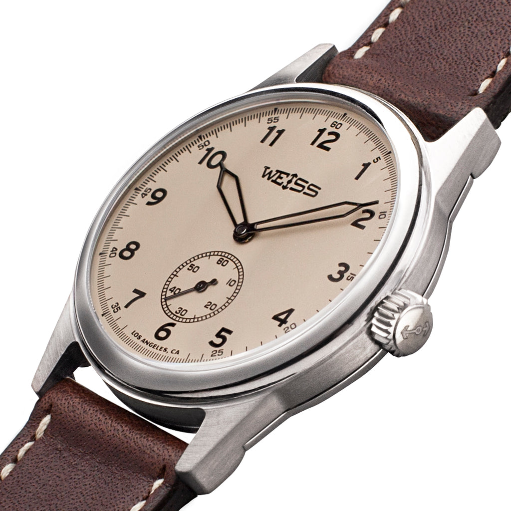 Weiss 38mm Standard Issue Field Watch | Latte Dial on Brown Horween Leather