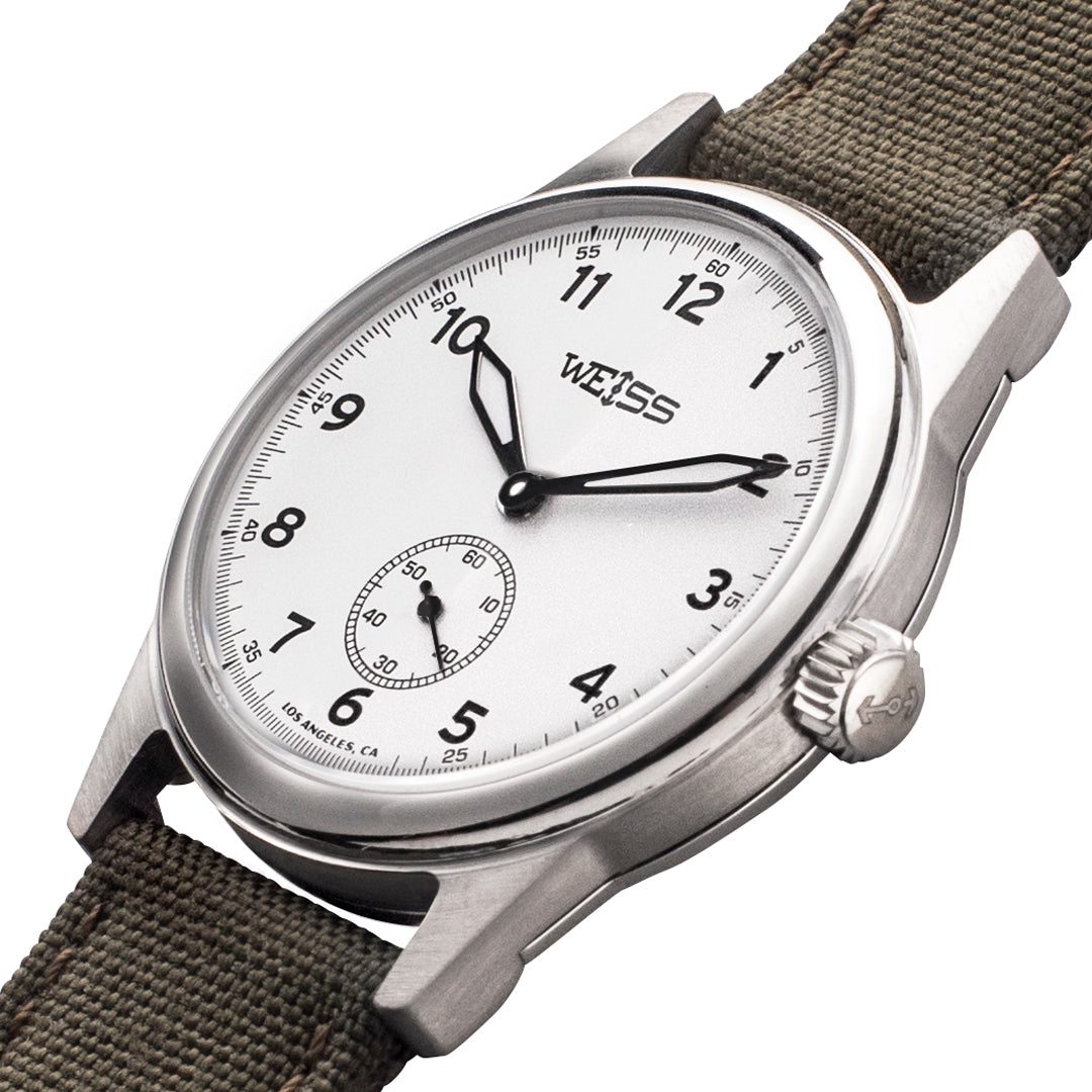 Weiss 38mm standard issue field watch white dial on olive cordura weiss watch company for Watches 38mm