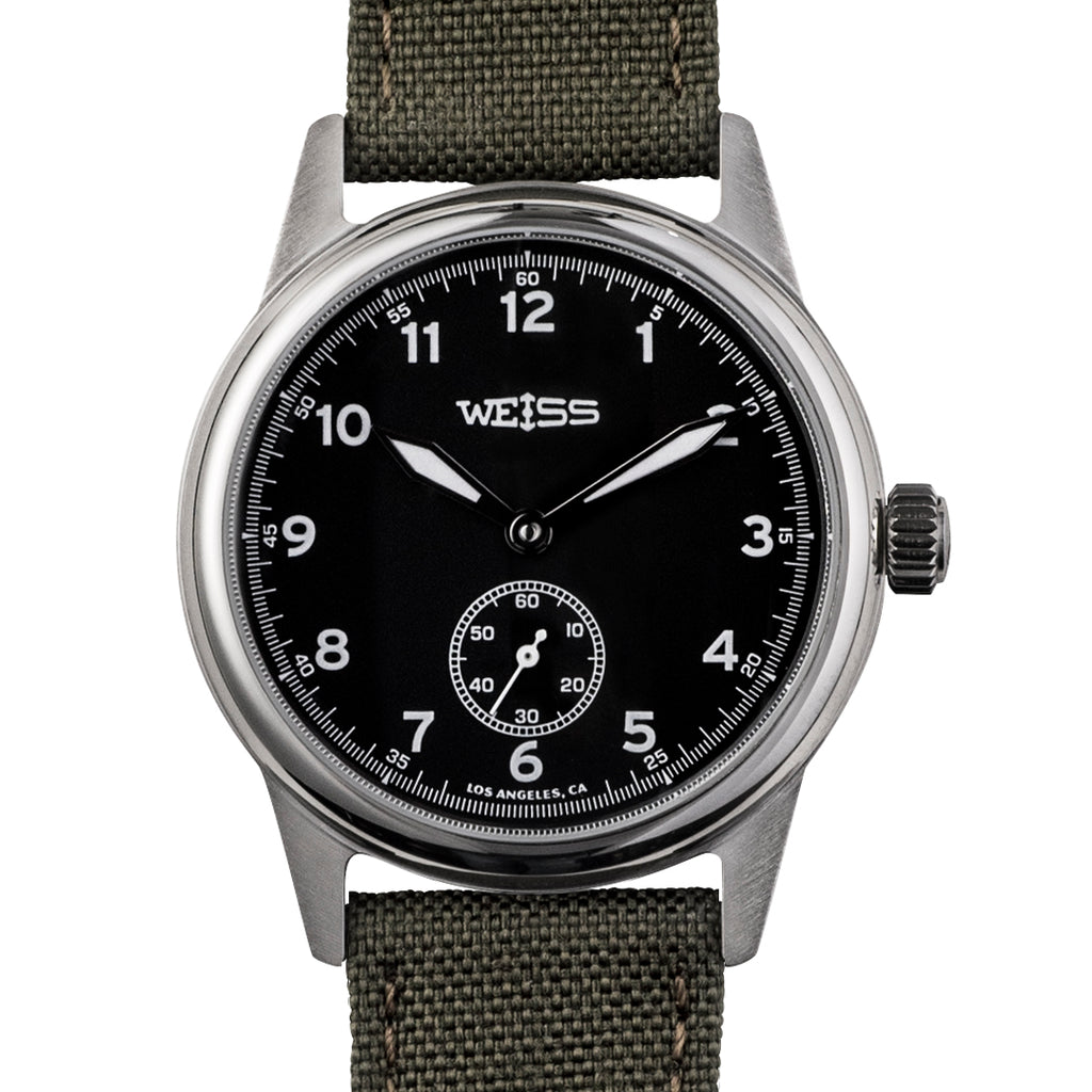 Weiss 38mm standard issue field watch black dial on olive cordura weiss watch company for Watches 38mm