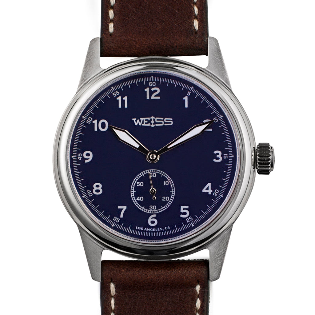 Weiss 38mm Standard Issue Field Watch | Blue Dial on Brown Horween Leather