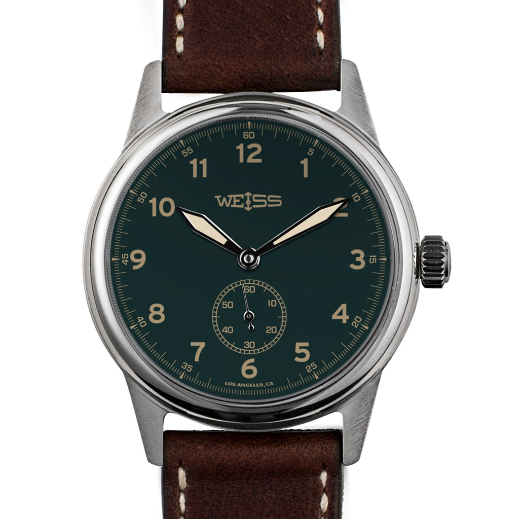 Weiss 38mm Standard Issue Field Watch | Green Dial on Brown Horween Leather