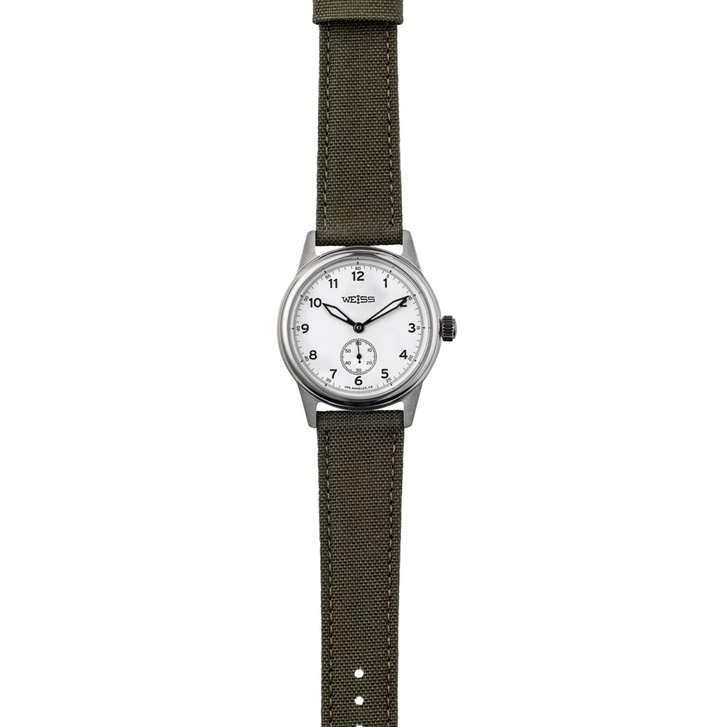 Weiss 38mm Standard Issue Field Watch | White Dial on Olive Cordura