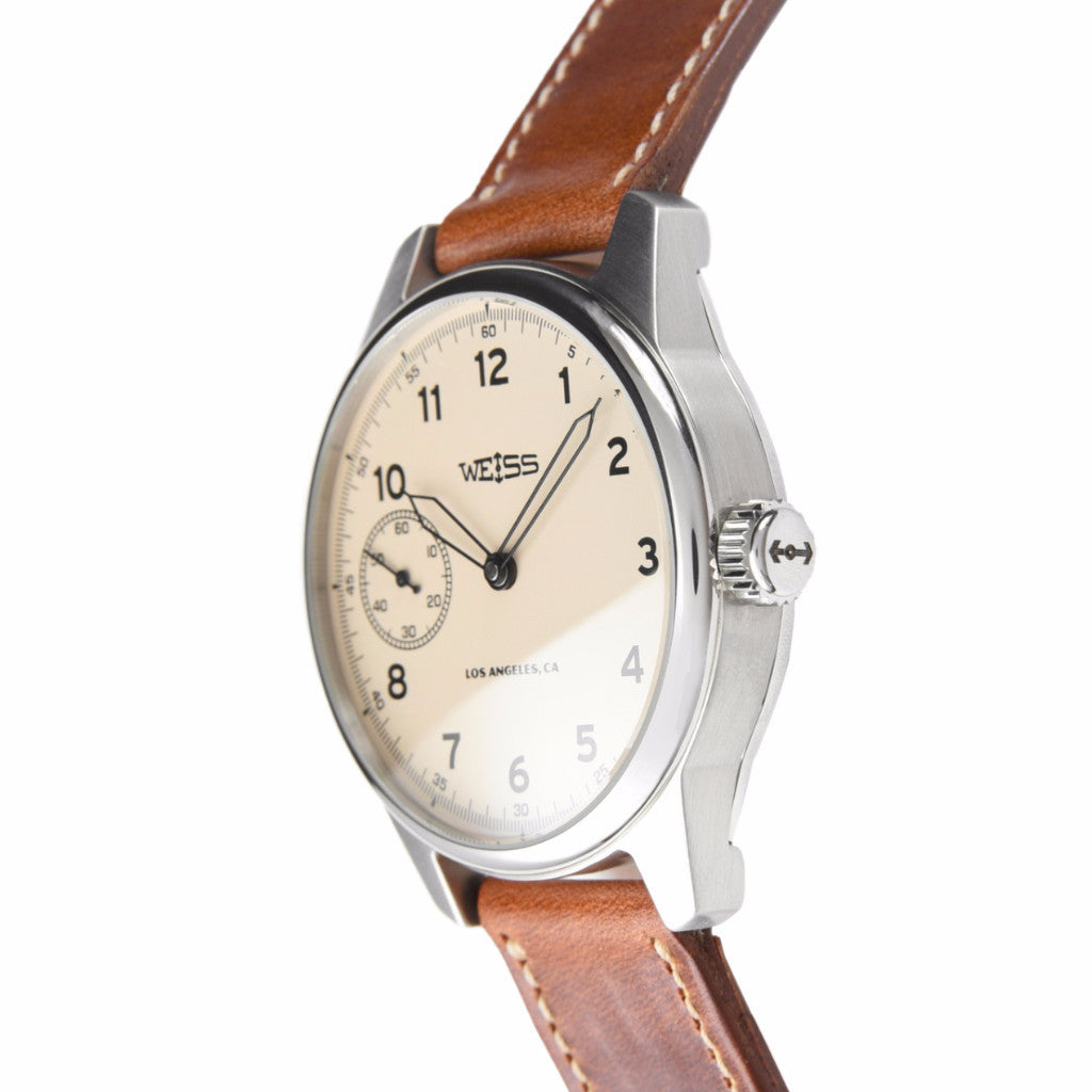 Weiss 42mm Standard Issue Field Watch | Latte Dial on Horween Leather