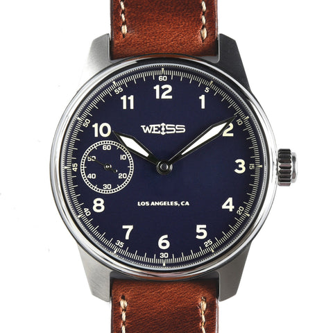 Weiss 42mm Limited American Issue Field Watch | Blue Dial with CAL 1003 on Brown Horween Leather | Limited Edition of 200
