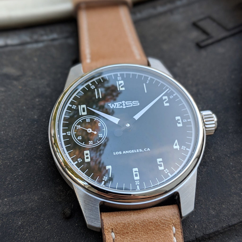 Weiss 42mm Gauge Series | Black Dial with CAL 1003 on Tan Horween Leather | Limited Edition of 50