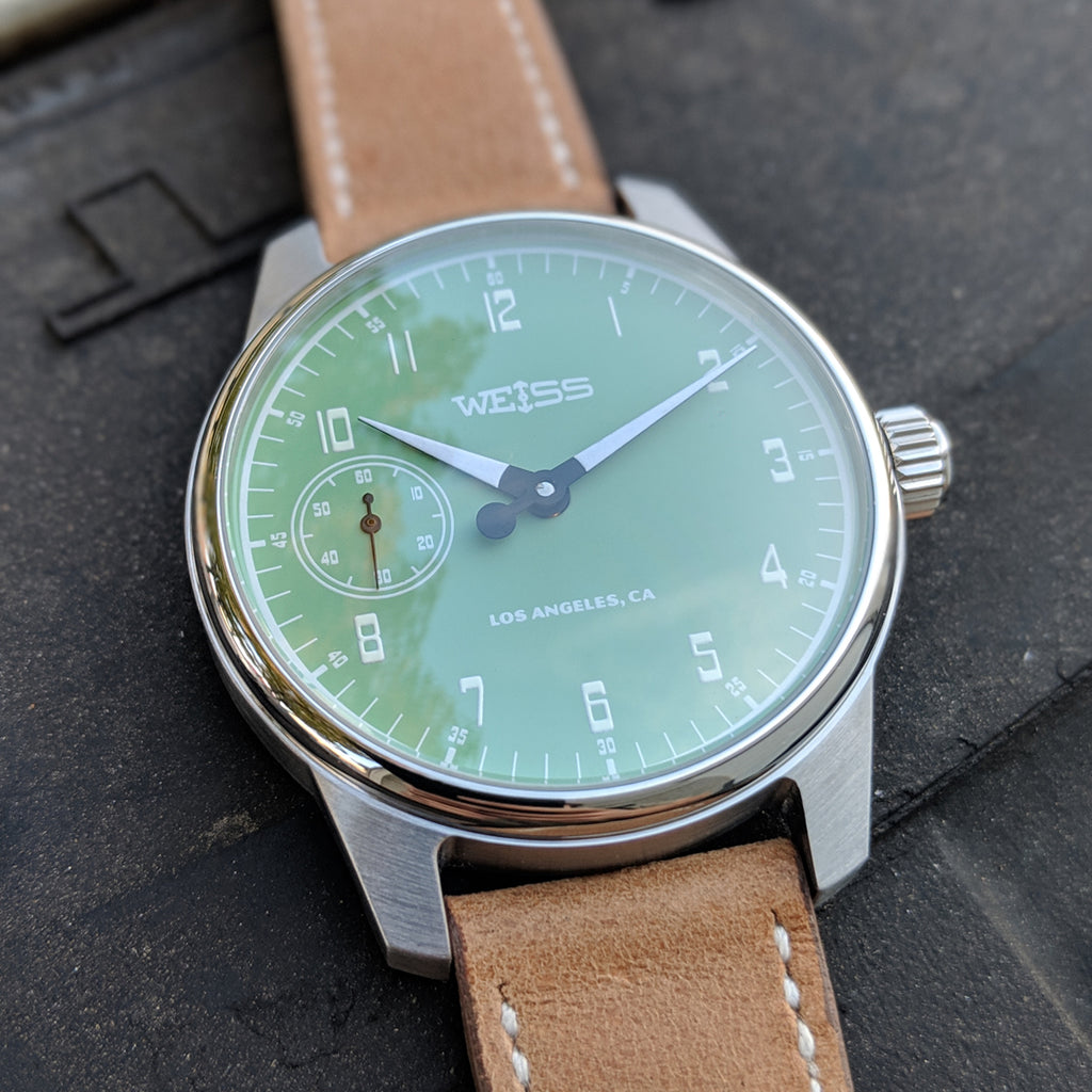 Weiss 42mm Gauge Series | Light Green Dial with CAL 1003 on Tan Horween Leather | Limited Edition of 21