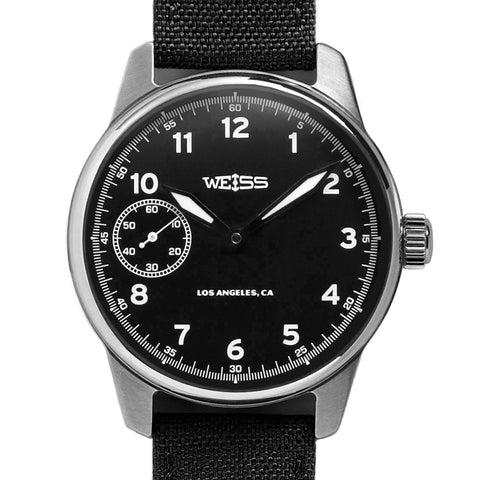 Weiss 42mm American Issue Field Watch | Black Dial on Black Cordura with CAL 1003