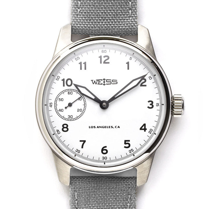 Weiss Standard Issue Field Watch White Dial on Gray Canvas