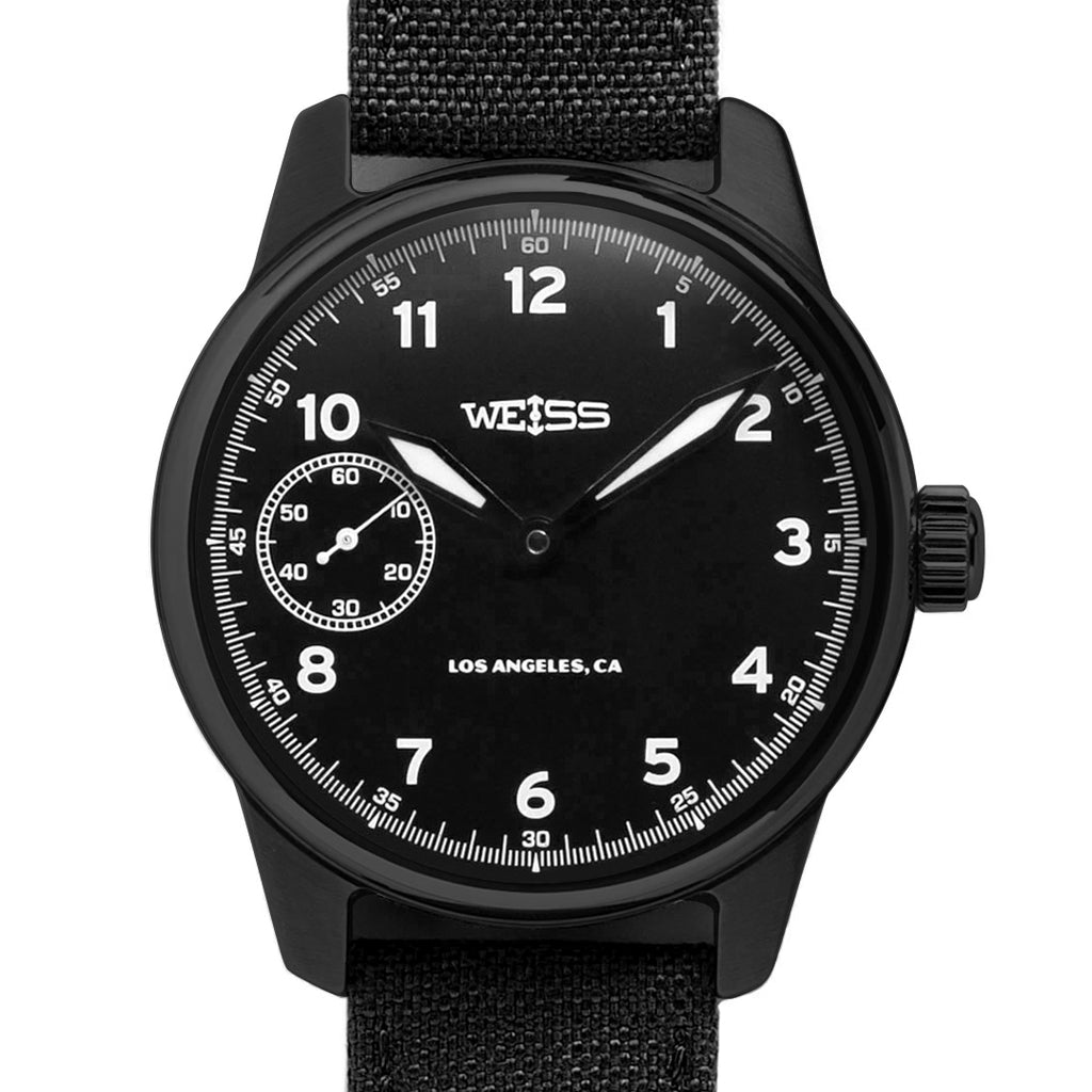 Weiss 42mm American Issue Field Watch | All Black Edition with Black Case, Dial, and Cordura Canvas with CAL 1003