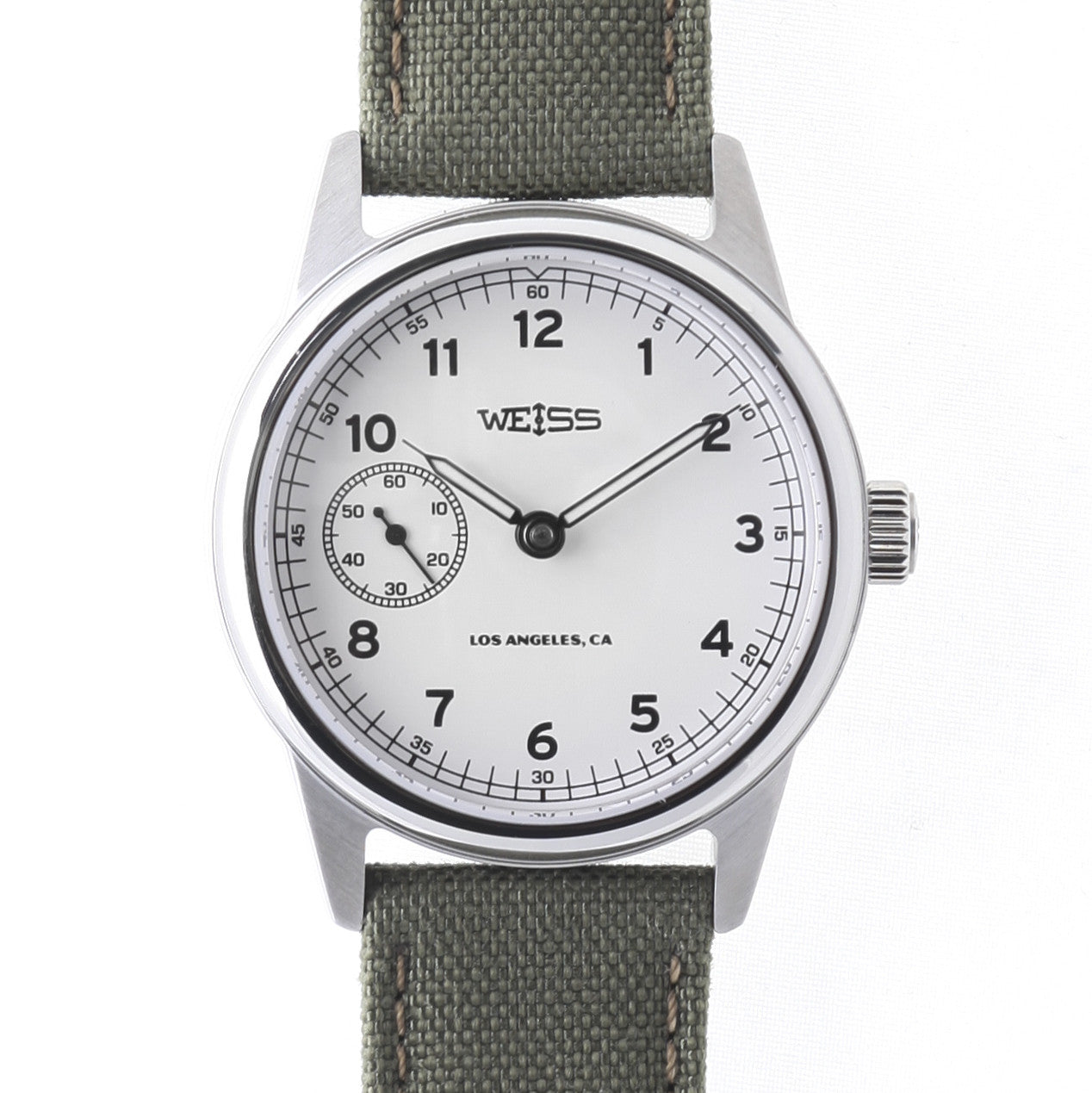 Automatic issue field watch white dial built in the usa weiss watch company for Watches 38mm