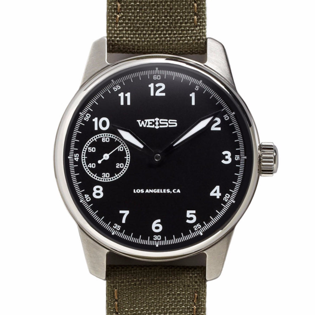 Weiss Standard Issue Field Watch | Black Dial on Olive Cordura