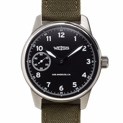 Weiss 42mm Standard Issue Field Watch | Black Dial on Olive Cordura