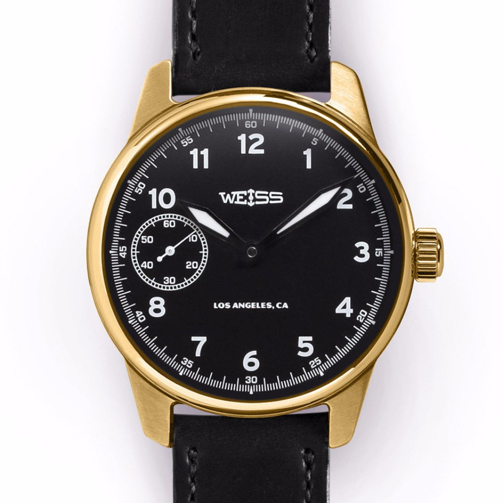 Weiss 42mm Executive Issue Field Watch 18k Yellow Gold | Black Dial on Black Shell Cordovan CAL 1003