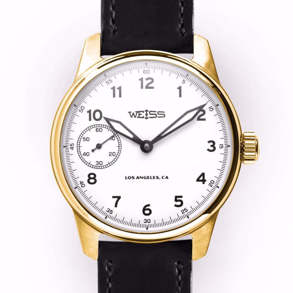 Weiss 42mm Executive Issue Field Watch 18k Yellow Gold | White Dial on Black Shell Cordovan CAL 1003