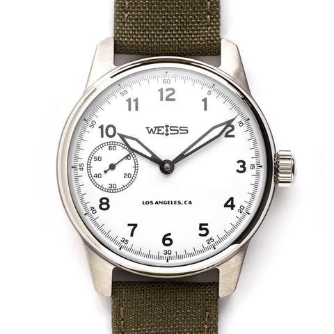 Weiss 42mm Standard Issue Field Watch | White Dial on Olive Cordura