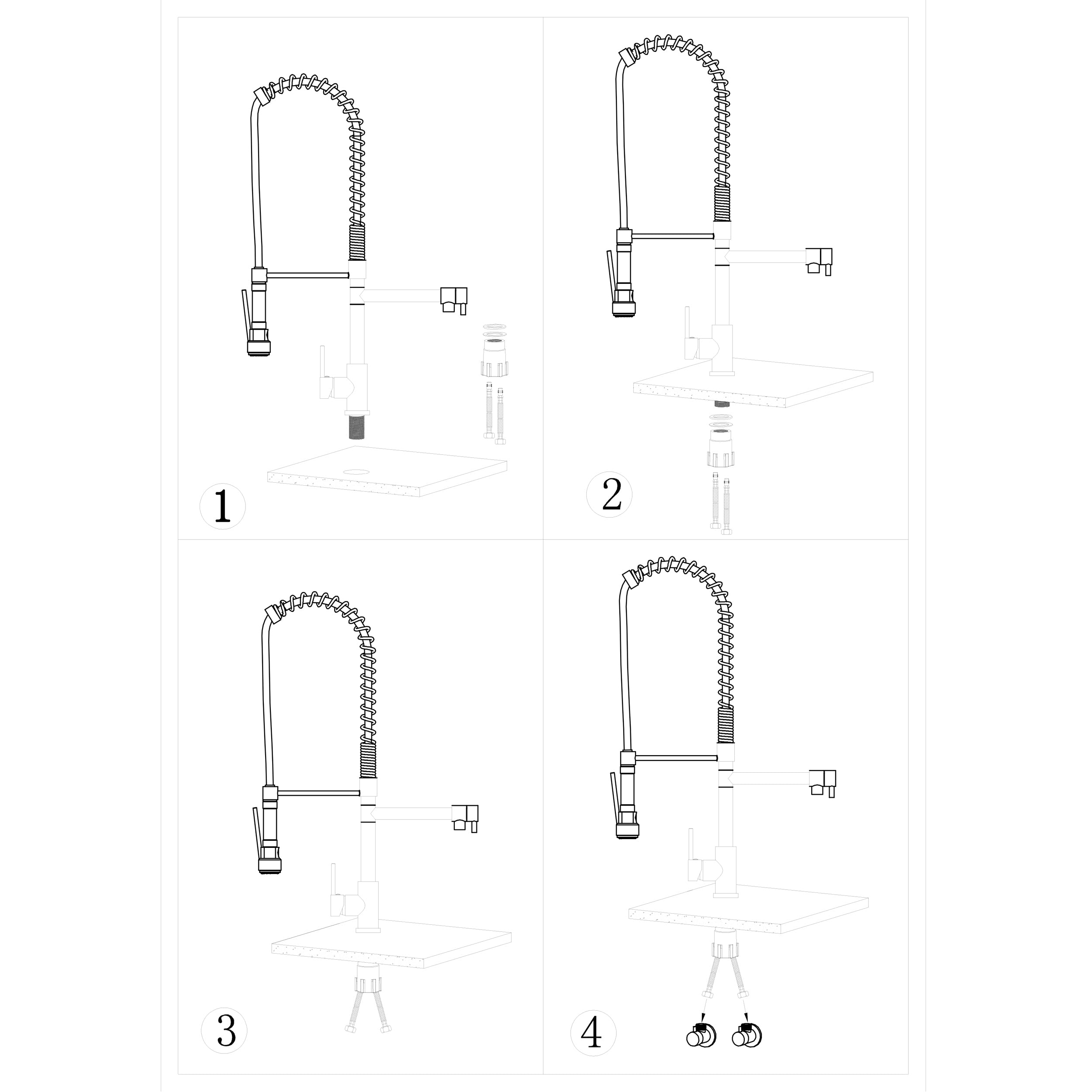 BAI 0631 Single Handle Kitchen Faucet with 2 Spouts and