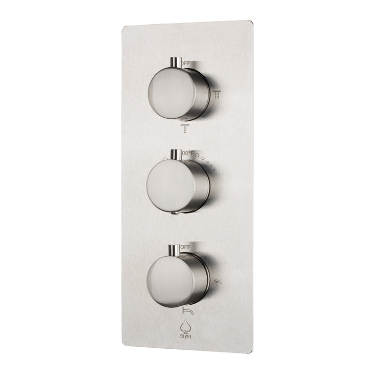 BAI 0123 Concealed Thermostatic Shower Mixer / Valve 4-6 Functions (Round Knobs, Brushed Nickel)