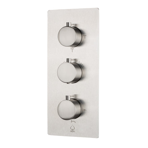 BAI 0123 Concealed Stainless Steel Thermostatic Shower Mixer / Valve 4-6 Functions (Round Knobs, Brushed Finish)