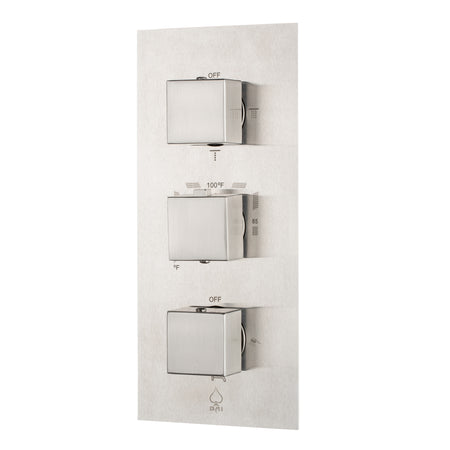 BAI 0125 Concealed Thermostatic Shower Mixer / Valve 4-6 Functions (Square Knobs, Brushed Nickel)