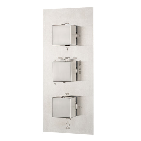 BAI 0125 Concealed Stainless Steel Thermostatic Shower Mixer / Valve 4-6 Functions (Square Knobs, Brushed Finish)