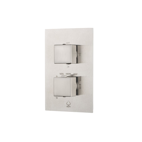 BAI 0128 Concealed Stainless Steel Thermostatic Shower Mixer / Valve 2-3 Functions (Square Knobs, Brushed Finish)