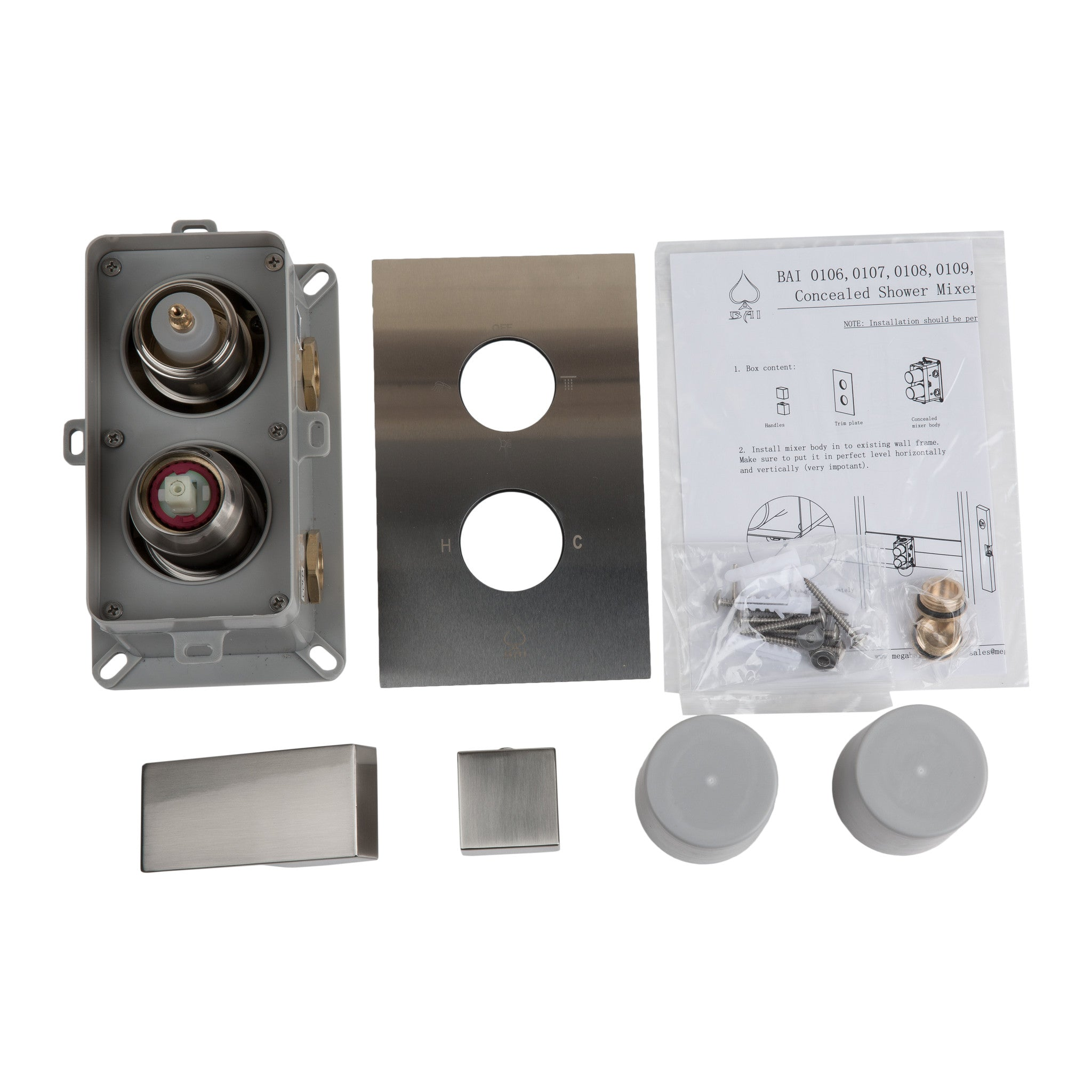 bai concealed stainless steel shower mixer with water pressure balance valve 23 functions - Shower Knobs