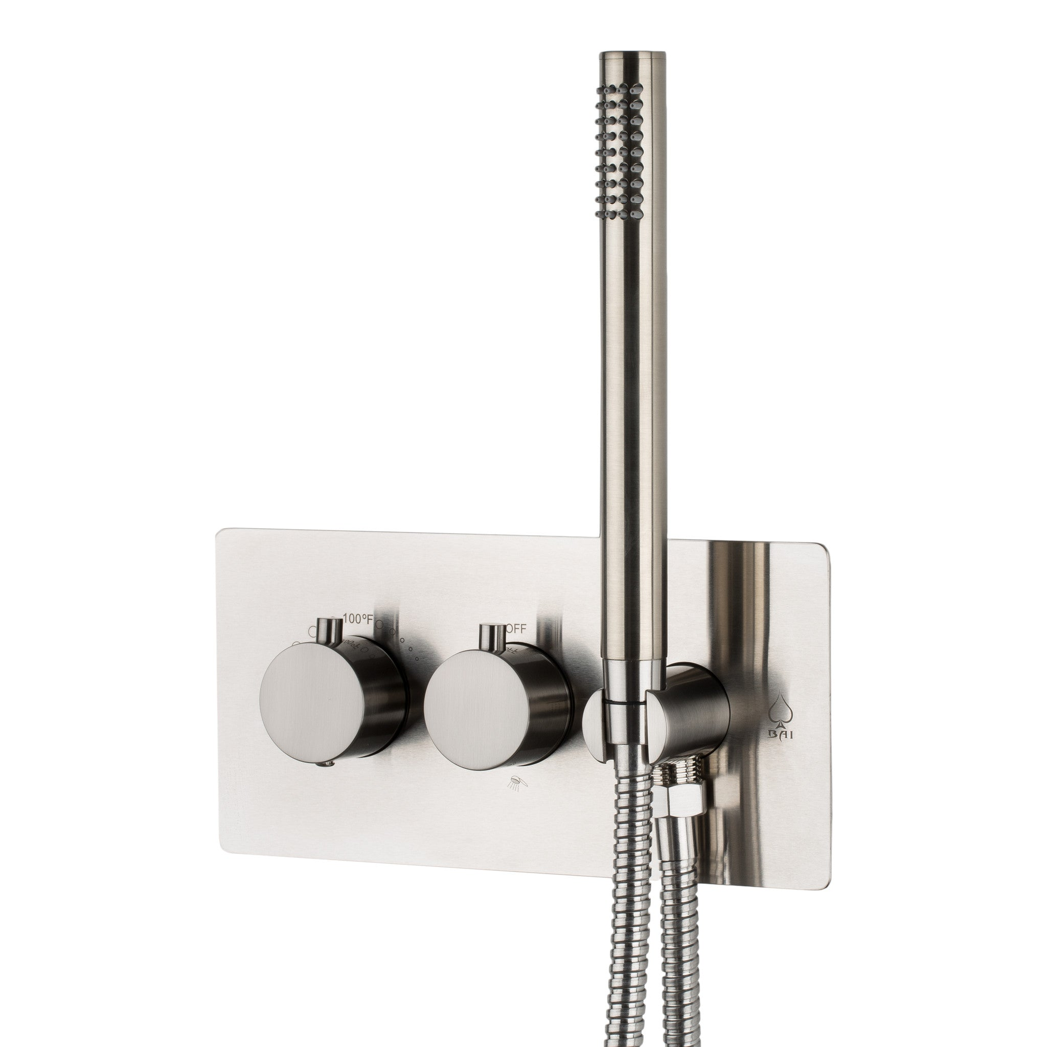 BAI 0132 Concealed Thermostatic Shower Mixer / Valve With Handheld Wand 2 3  Functions (Round Knobs, Brushed Nickel)
