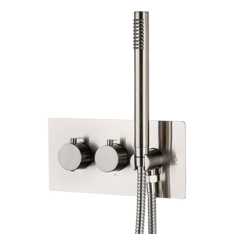 BAI 0132 Concealed Stainless Steel Thermostatic Shower Mixer / Valve With Handheld Wand 2-3 Functions (Round Knobs, Brushed Finish)