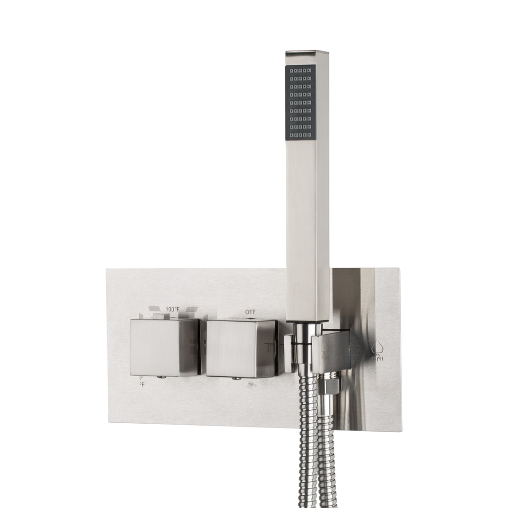 BAI 0133 Concealed Stainless Steel Thermostatic Shower Mixer / Valve With Handheld Wand 2-3 Functions (Square Knobs, Brushed Finish)