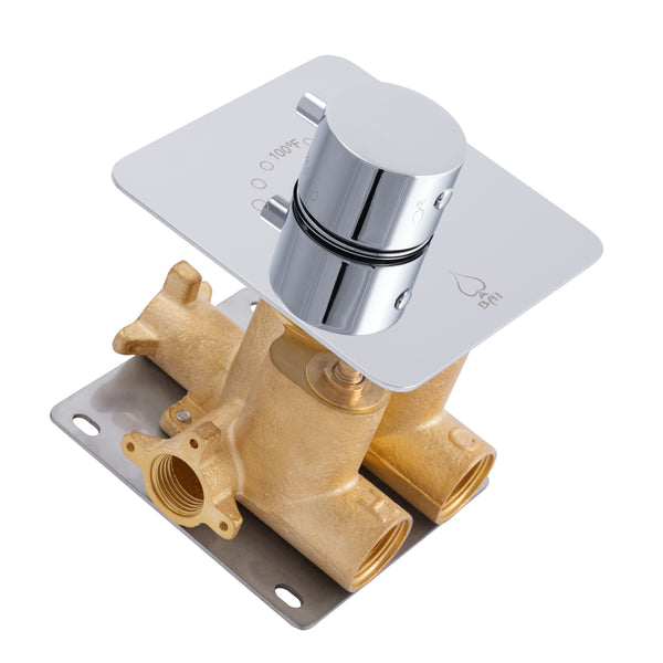 "BAI 0138 Concealed Thermostatic Mixer Valve - 3/4"" Inlets (Round Knob)"