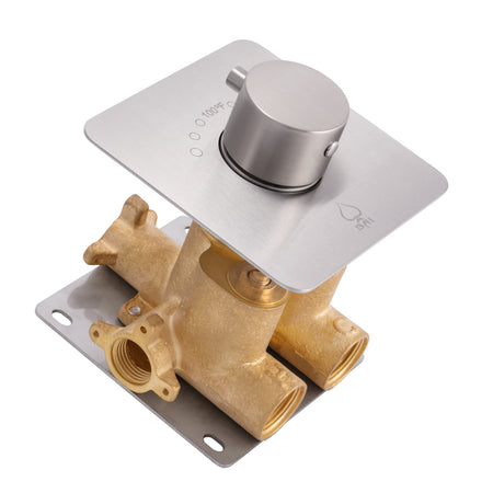 "BAI 0139 Concealed Thermostatic Mixer Valve - 3/4"" Inlets (Round Knob, Brushed Nickel)"