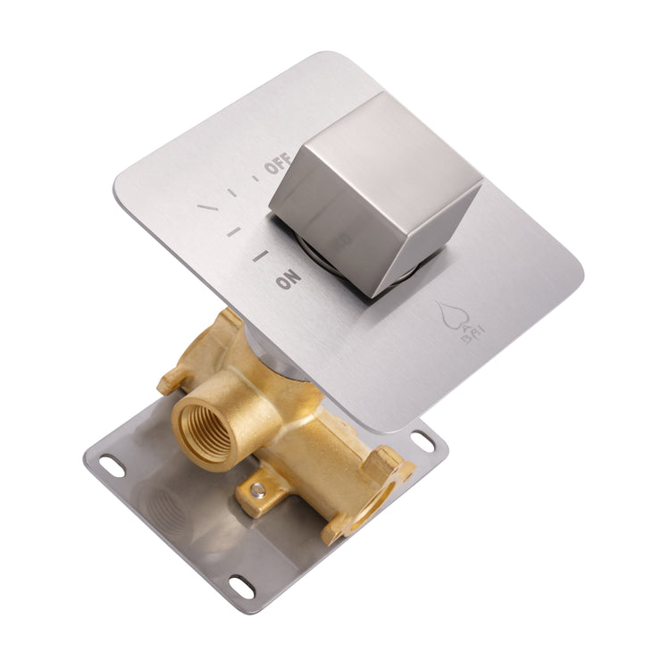 BAI 0141 Concealed 1 Function ON/OFF Shower Valve in Brushed Nickel Finish