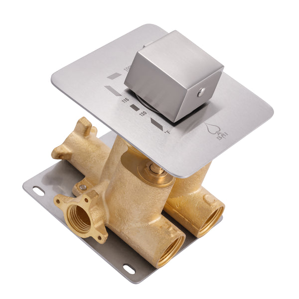 "BAI 0143 Concealed Thermostatic Mixer Valve - 3/4"" Inlets (Square Knob, Brushed Nickel)"