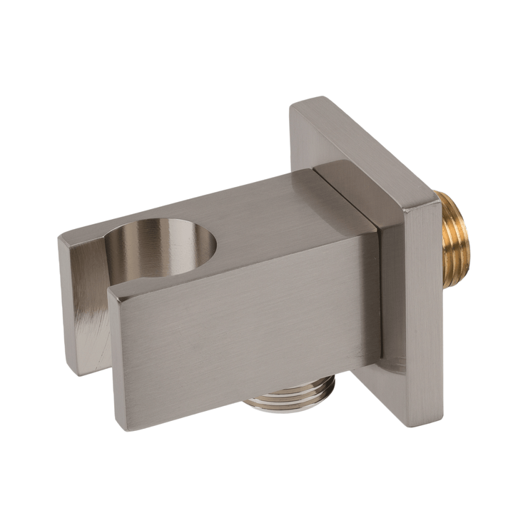 BAI 0165 Wall Mounted Handheld Shower Holder with Integrated Hose Connection in Brushed Nickel Finish