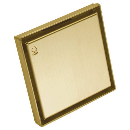 BAI 0500 Stainless Steel 5-inch Square Shower Drain in Brushed Gold