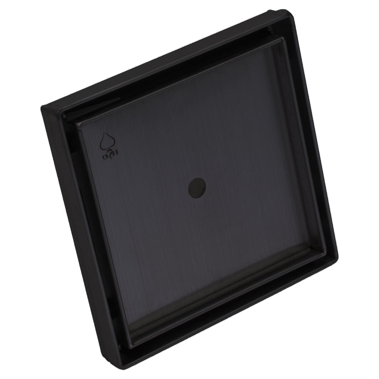 BAI 0512 Stainless Steel 5-inch Tile Insert Square Shower Drain in Matte Black