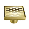BAI 0518 Stainless Steel 5-inch Square Shower Drain in Brushed Gold