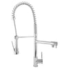 BAI 0601 Single Handle Kitchen Faucet with 2 Spouts and Pull-Down Spray in Polished Chrome Finish