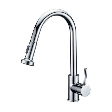 BAI 0624 Single Handle Kitchen Faucet with Pull Down System in Polished Chrome Finish