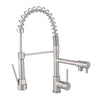BAI 0630 Single Handle Kitchen Faucet with 2 Spouts and Pull-Down Spray in Brushed Finish