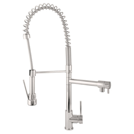 BAI 0631 Single Handle Kitchen Faucet with 2 Spouts and Pull-Down Spray in Brushed Finish