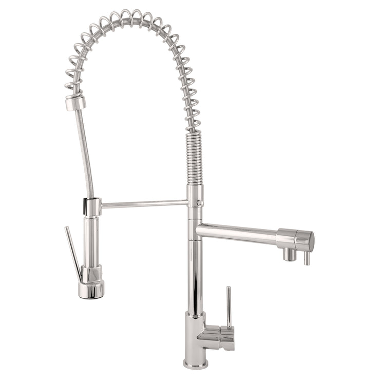 BAI 0631 Single Handle Two Spouts Kitchen Faucet With Pull-Down Spray / Brushed Finish