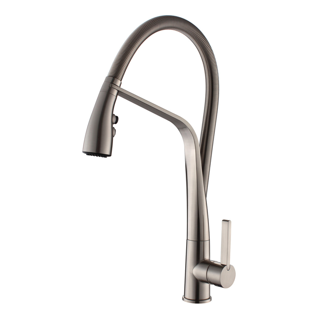 BAI 0633 Single Handle Kitchen Faucet With Pull-Down Spray Brushed Finish