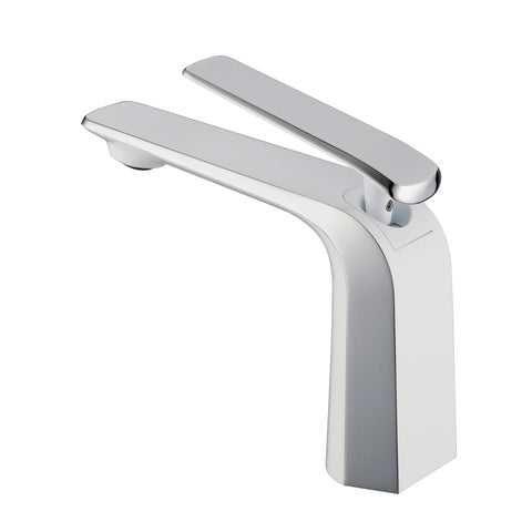 BAI 0641 Single Handle Contemporary Lavatory / Bathroom Faucet / White and Polished Chrome Finish