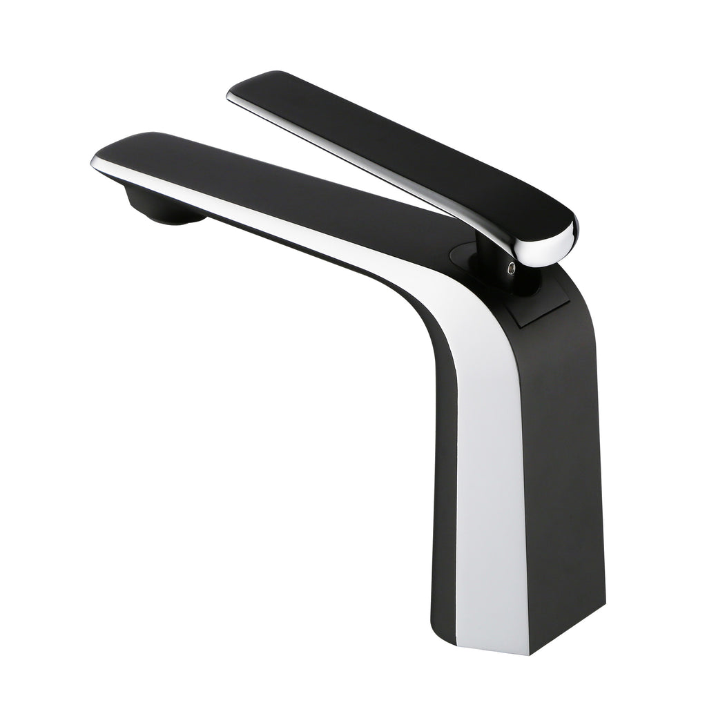 BAI 0642 Single Handle Contemporary Lavatory / Bathroom Faucet / Black and Polished Chrome Finish